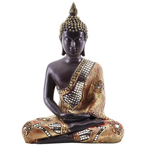 XXXLutz Buddha , 15239 , Braun, Goldfarben , Kunststoff , 21x27x12 cm , sitzend , 003579002101