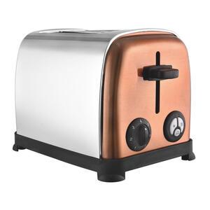 XXXLutz Toaster , Toaster TKG TO 1050 CO *mb* , Silberfarben, Kupferfarben , Metall , 29.6x24x18 cm , Krümelschublade, Brötchenaufsatz, Auftaufunktion, Aufwärmfunktion, automatische Zentrierung de