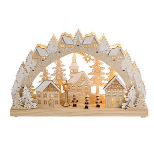 X-Mas Lichterbogen Kirche , 10022057 , Holz , Weihnachten , 8x28x45 cm , zum Stellen , 003579016202