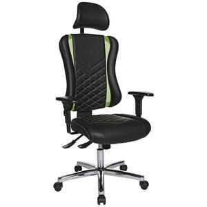 Dieter Knoll Drehstuhl lederlook grün, schwarz , Gaming Chair 20 , Metall , 47.5x99-127x44 cm , verchromt,Lederlook , inklusive Armlehnen , 001319008402
