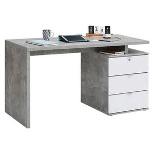 Carryhome Schreibtisch grau, weiß , 4056 , Metall , 2 Schubladen , 140x75x60 cm , Hochglanz, melaminharzbeschichtet,Nachbildung , Stauraum , 001534012401