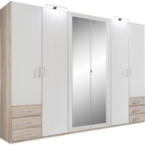 Carryhome Drehtürenschrank 6-türig weiß, eichefarben , Fügen , Holzwerkstoff , 3 Fächer , 270x208x58 cm , sägerau,Nachbildung , 001787052501