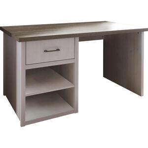 Carryhome Schreibtisch weiß, trüffeleichefarben , Luca , Metall , 1 Schubladen , 141x77x81 cm , Nachbildung , seitenverkehrt montierbar , 000241002104