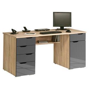 XXXLutz Schreibtisch grau, eichefarben , 9539 , 5 Schubladen , 160x74.5x67 cm , melaminharzbeschichtet,Nachbildung , Stauraum , 001534037501