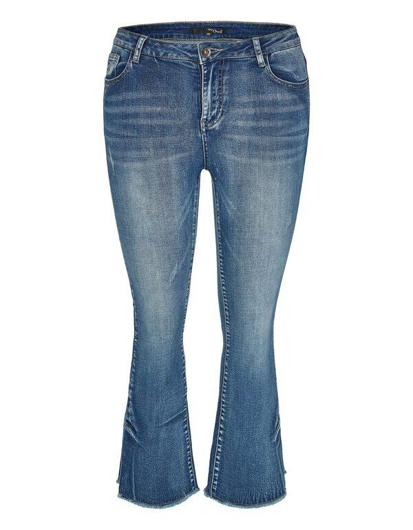 My Own - 5-Pocket-Jeans mit ausgestelltem Bein und Fransen
