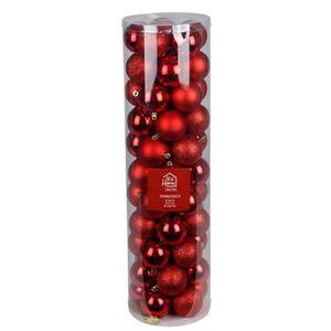 Weihnachtsbaumkugeln 6cm 55er-Set Rot