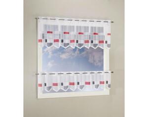 Scheibengardine Set grau rot ca. 30+45 x 145 cm