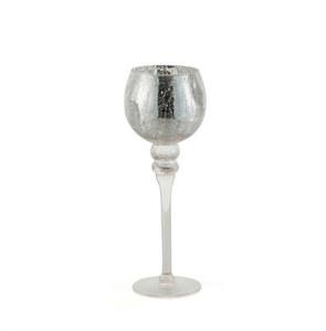 Glaswindlicht Kelch auf Fuß Cracking Silberoptik M 35 cm