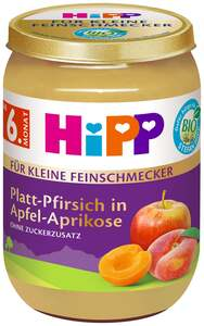 HiPP Bio Platt-Pfirsich in Apfel-Aprikose, ab 6. Monat