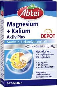 Abtei Magnesium + Kalium Aktiv Plus Depot Tabletten