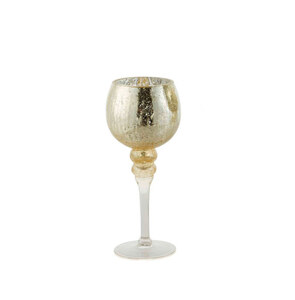 Glaswindlicht Kelch auf Fuß Cracking Champagner S 30 cm