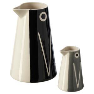 LÄTTSÅLD Vase/Karaffe 2er-Set, Pinguin/schwarz grau