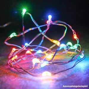 LED Lichterkette 20 LED Haardraht innen Batterie