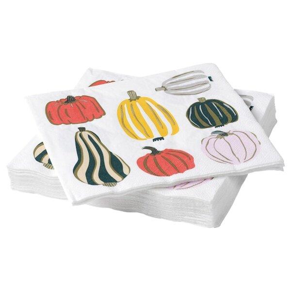 HÖSTPROMENAD Papierserviette, Kürbismuster weiß