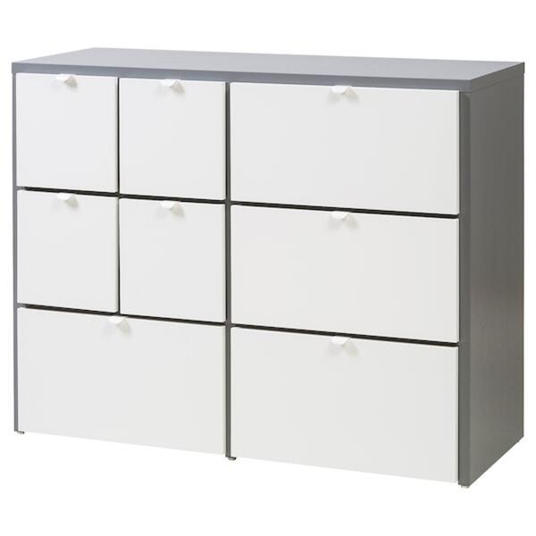 VISTHUS Kommode mit 8 Schubladen, grau/weiß