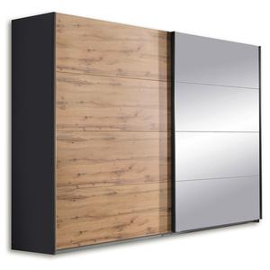 Schwebetürenschrank - grau-metallic - Eiche Wotan - 271 cm