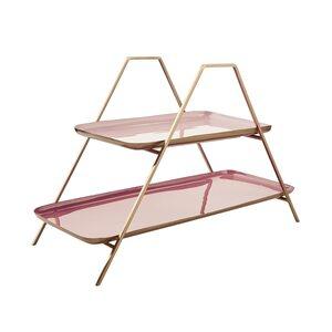 Butlers Emilie Etagere Retro mit 2 Ebenen H 30cm rosa-gold