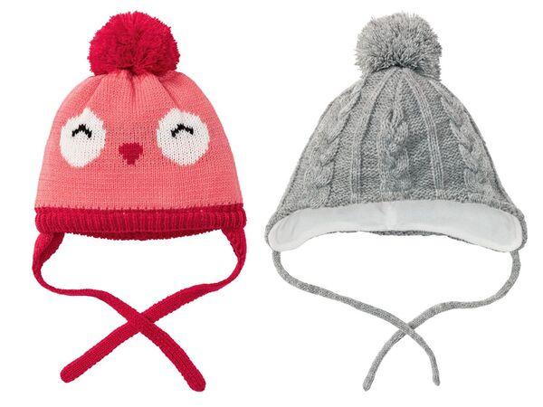 LUPILU® Baby Mütze Mädchen, Fleecefutter, Bindebänder