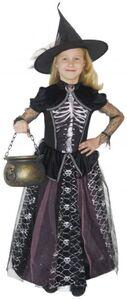 Kostüm - Skeletthexe - für Kinder - 2-teilig - verschiedene Größen