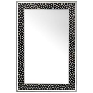 Xora Spiegel schwarz, silberfarben , Nora , Glas , 80x120x4.4 cm , lackiert,verspiegelt,Nachbildung , Verzierungen, senkrecht montierbar , 001047009401