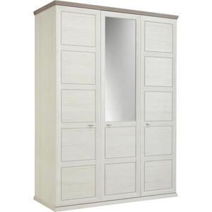 Hom`in Drehtürenschrank 3-türig grau, weiß , Camron   -Hom In- , Holzwerkstoff , 5 Fächer , 154x209x60 cm , Melamin,Nachbildung , Beimöbel erhältlich , 000003000118