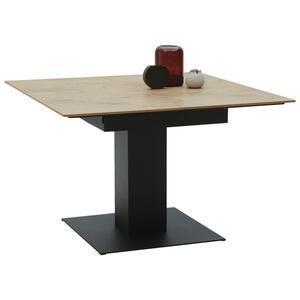 Dieter Knoll Esstisch quadratisch schwarz, eichefarben , Lodi , Metall , 120x77x120(180) cm , pulverbeschichtet,3D-Folie,Nachbildung , ausziehbar , 000347003754