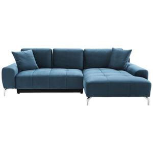 Hom`in Wohnlandschaft blau mikrofaser , Stella   -Hom In- , Textil , 4-Sitzer , verchromt,Mikrofaser , Stoffauswahl, Liegefunktion , 000647009701
