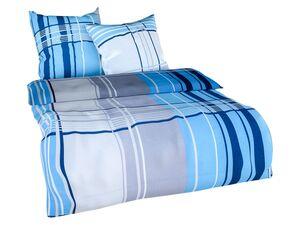 Setex Feinbiber Bettwäsche Squares blau