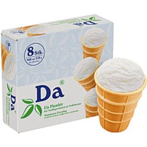"""Eis """"Plombir"""" mit Vanillegeschmack im Waffelbecher """"DA"""" 8 x ..."""