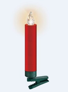 "Krinner Lumix Weihnachtsbaumkerzen Premium mini ""Basisset,12 LED Kerzen, rot"""