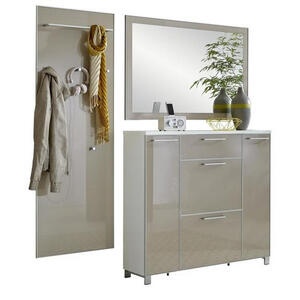 XXXLutz Garderobe weiß, taupe , Santina , Glas , 190x195x31 cm , lackiert,rückseitig lackiert,Nachbildung , 001529005314