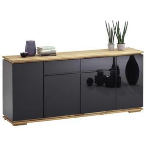 XXXLutz Sideboard asteiche, eiche massiv schwarz, eichefarben , Chiaro , Holzwerkstoff , 4 Fächer , 2 Schubladen , 182x81x40 cm , Hochglanz, geölt, lackiert,Echtholz, Nachbildung , Beimöbel erhäl