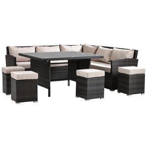 Ambia Garden Dining-loungeset stahl , Reggiolo , Creme, Grau , Metall, Kunststoff, Glas, Textil , pulverbeschichtet,matt,klar,beschichtet , 001694003001
