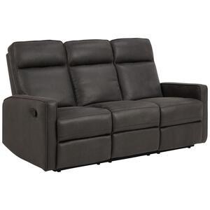 XXXLutz Dreisitzer-sofa lederlook, mikrofaser grau , Asila , Textil , 3-Sitzer , 179x103x91 cm , pulverbeschichtet,Lederlook, Mikrofaser , 001749050701