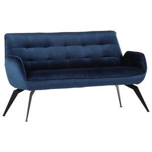 XXXLutz Sitzbank samt blau , Bistro , Textil , Uni , 2-Sitzer , 165x94x70 cm , pulverbeschichtet,Samt , Stoffauswahl , 001877083201