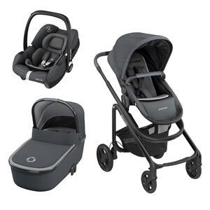 Maxi-Cosi Lila cp kinderwagenset dunkelgrau , Lila CP Set , Metall , 64.5x109x107.5 cm , matt,Flachgewebe , Feststellbremse, Verdeckung abnehmbar, für Babyschale geeignet, Sitz umsetzbar, Einhand-Fa