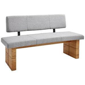 Celina Home Sitzbank eiche massiv grau, eichefarben , Classic 2020 , Holz, Textil , 3-Sitzer , 160 cm , geölt,Echtholz , Stoffauswahl , 002229015013