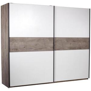 Carryhome Schwebetürenschrank 2-türig weiß, eichefarben , Julia , Holzwerkstoff , 3 Fächer , 225x270 cm , Nachbildung , 002522015105
