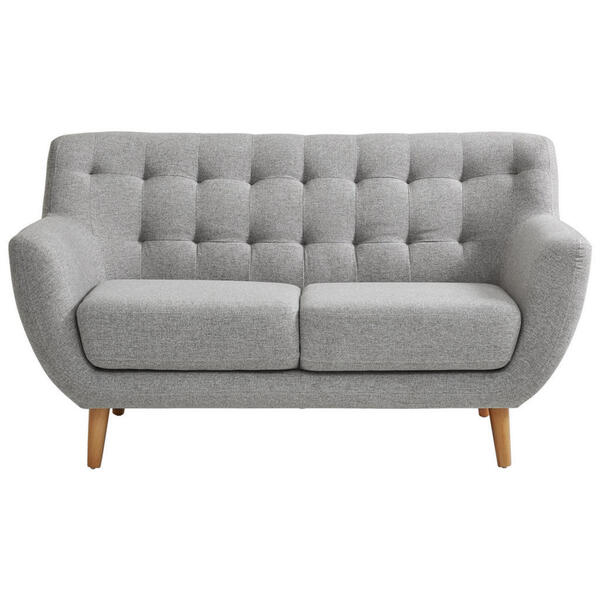Carryhome Zweisitzer-sofa hellgrau , Malmö , Textil , Buche , massiv , 2-Sitzer , 150x84x84 cm , lackiert,Echtholz , Typenauswahl , 001491001605