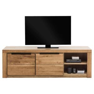Carryhome Tv-element eiche teilmassiv eichefarben , Greta , Holz , 3 Fächer , 160x51x54 cm , Echtholz, Nachbildung, teilmassiv , 001427009408