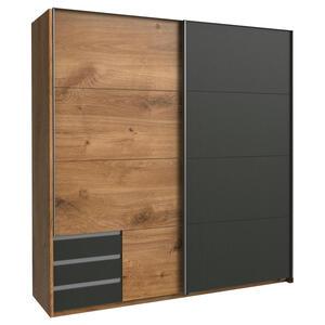 Carryhome Schwebetürenschrank 2-türig graphitfarben, eichefarben , Emden , Holzwerkstoff , 5 Fächer , 3 Schubladen , 179x198x64 cm , Nachbildung , umfangreiches Zubehör erhältlich,umfangreiches