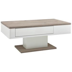 Xora Couchtisch rechteckig weiß, eichefarben , Room Art , 1 Schubladen , 65x48x110 cm , Melamin,Nachbildung , 002590001518