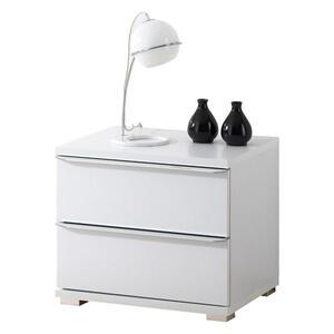 Moderano Nachtkästchen weiß , Delta , Glas , 2 Schubladen , 40x44x40 cm , glänzend,Nachbildung , Typenauswahl , 000531003134