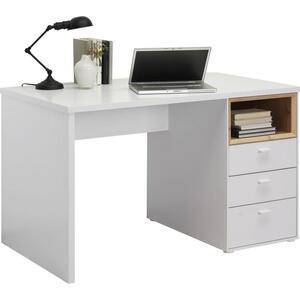 Hom`in Schreibtisch weiß, eichefarben , Spectre -Hom In- , Metall , 3 Schubladen , 120x74x70 cm , matt,Nachbildung , Stauraum , 000003000611
