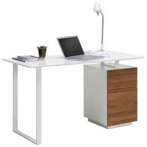 Hom`in Schreibtisch weiß, eichefarben , Domos    -Hom In- , Metall , 1 Schubladen , 140x76x60 cm , pulverbeschichtet,Mattlack, 3D-Folie,Nachbildung , Stauraum , 002798001601