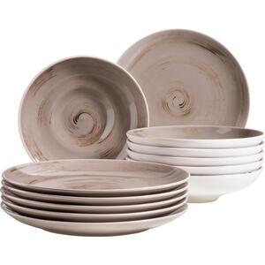XXXLutz Porzellan tafelservice 12-teilig , 12-Tlg Tafelservice Derby , Beige , Keramik , 32x32x30 cm , handbemalt , 003175018009