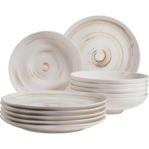 XXXLutz Porzellan tafelservice 12-teilig , 12-Tlg Tafelservice Derby , Weiß, Beige , Keramik , 32x32x30 cm , handbemalt , 003175018008