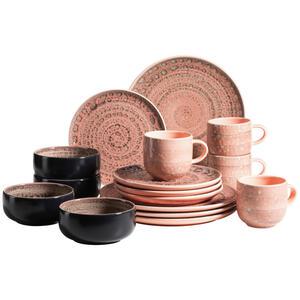 XXXLutz Steingut kombiservice 16-teilig , Spicy Market 16-Tlg. , Rosa , Keramik , 355 ml , 26.1x54.3x32.6 cm , 003175017901
