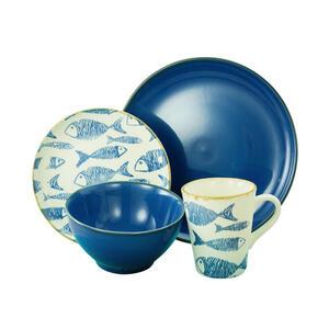 Creatable Steingut kombiservice 16-teilig , 22891 , Blau, Weiß , Keramik , Fische , 300 ml , 26.5x40x43.5 cm , glänzend , 007768020001