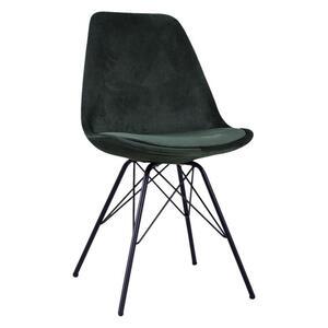 Carryhome Stuhl samt dunkelgrün , Kurt , Metall , 55.5x86x48 cm , pulverbeschichtet,matt,Samt , 002687022301